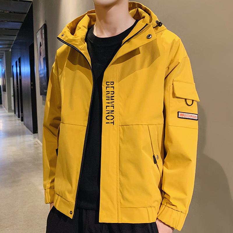 Inoltre Jacket Size Uomini 2020 Primavera Autunno incappucciato Windbreaker cappotto degli uomini Giallo giacche casual 6XL 7XL 8XL T200909