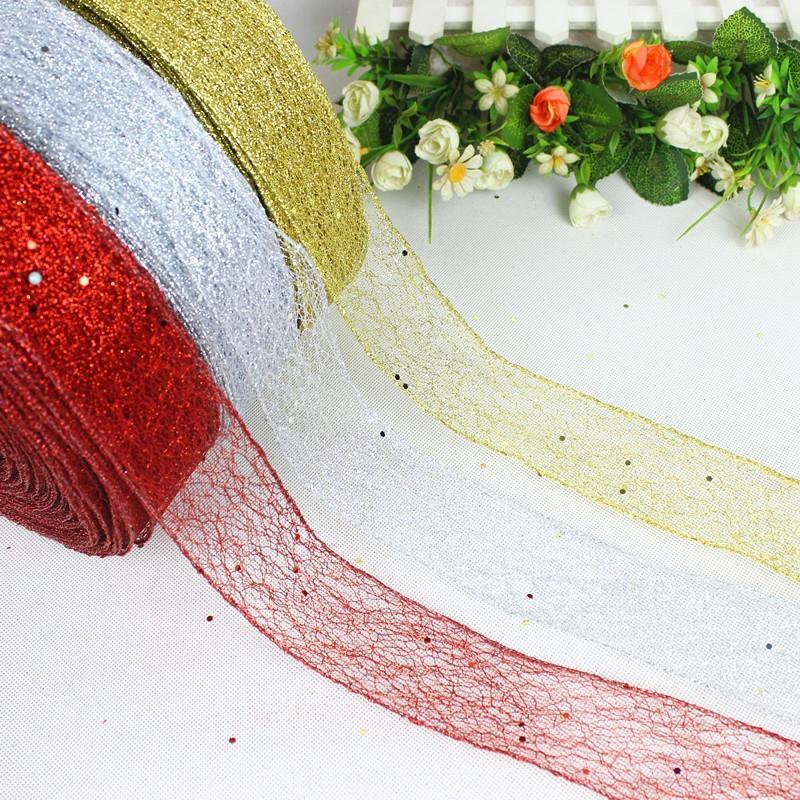 Accesorios netos fzonV 2 m / bolsa desordenado bloqueo del árbol de polvo de borde de la cinta Navidad Decoraciones decoración de la cinta VID0O