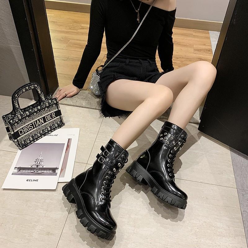 Stivali piattaforma piattaforma rivetto in pelle ribattino donne autunno punk moto block tacco scarpe gotiche caviglia