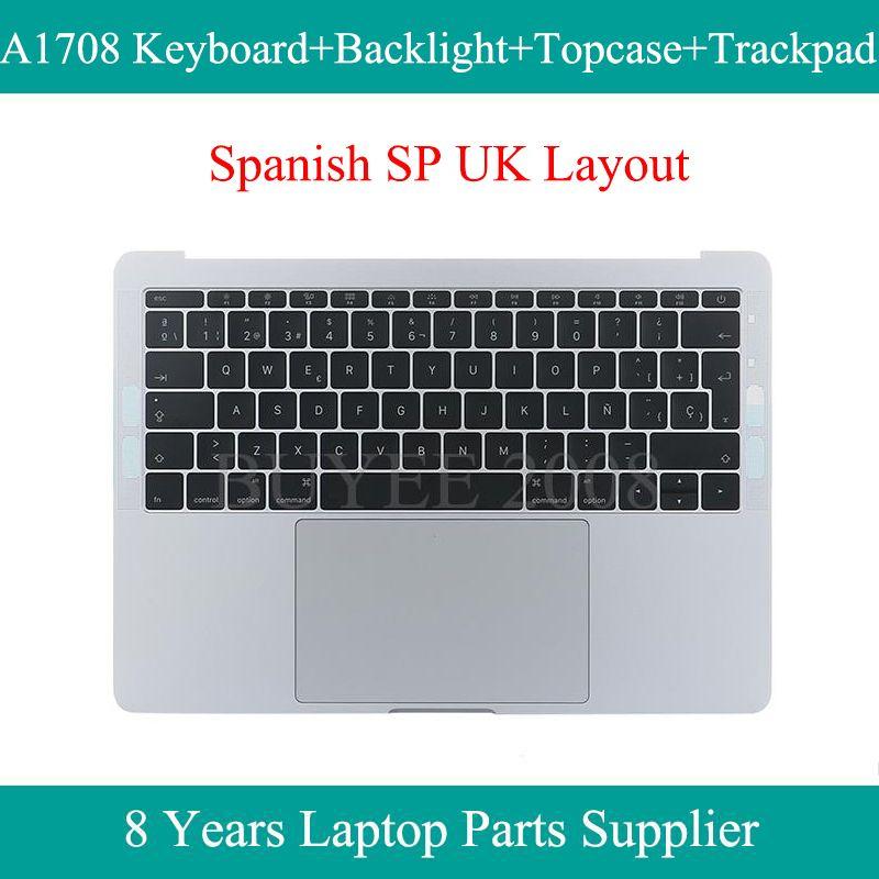 Laptop Keyboard pulsos SP UE A1708 Para Pro A1708 Espanhol Keyboard Backlight Topcase Touchpad Trackpad Cinzento Prateado