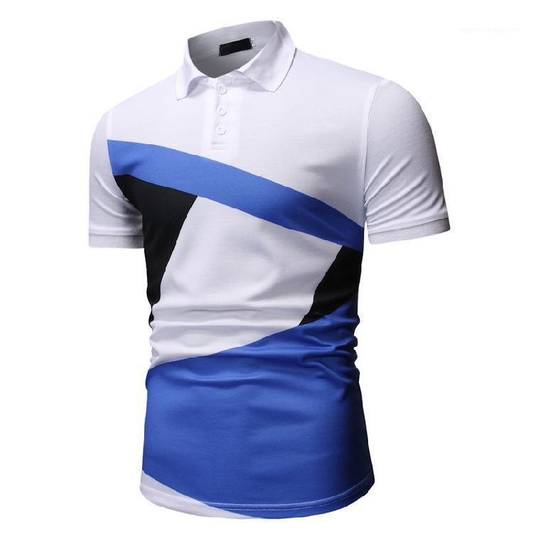 Secco Tees Nuovo Mens estate di contrasto di colore Polo High Street Fashion Short Sleeve stampa digitale Maschio rapida