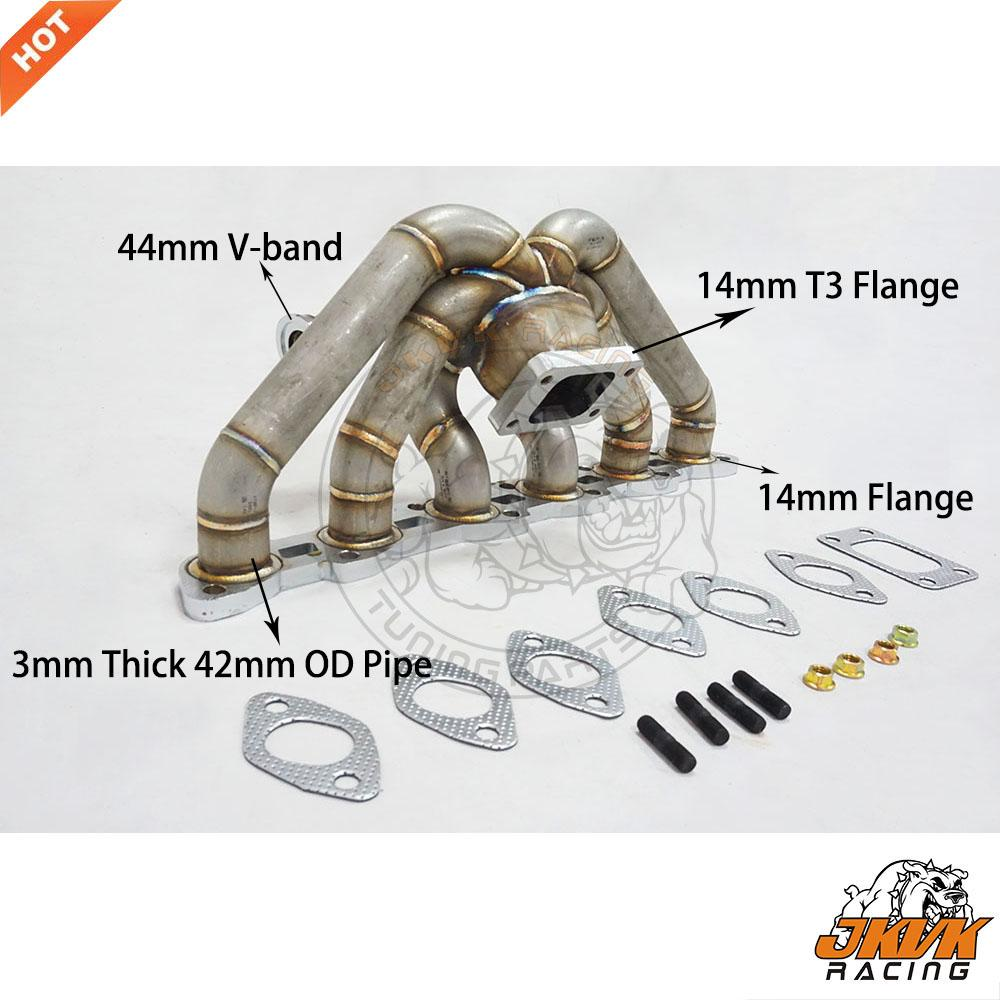 JKVK RACING 3mm Thick Steam Pipe T3 Flange Top Mount R32 R33 RB20DET RB20 RB25 RB25DET Manifold