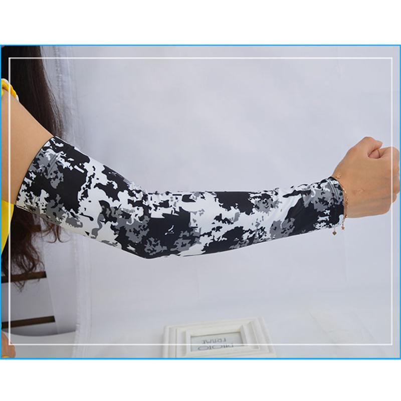 Ice Seta di riciclaggio del braccio manicotto Gomitiera fitness tattico Camo basket in esecuzione braccio biciclette scalda uomini di estate di sicurezza Sport