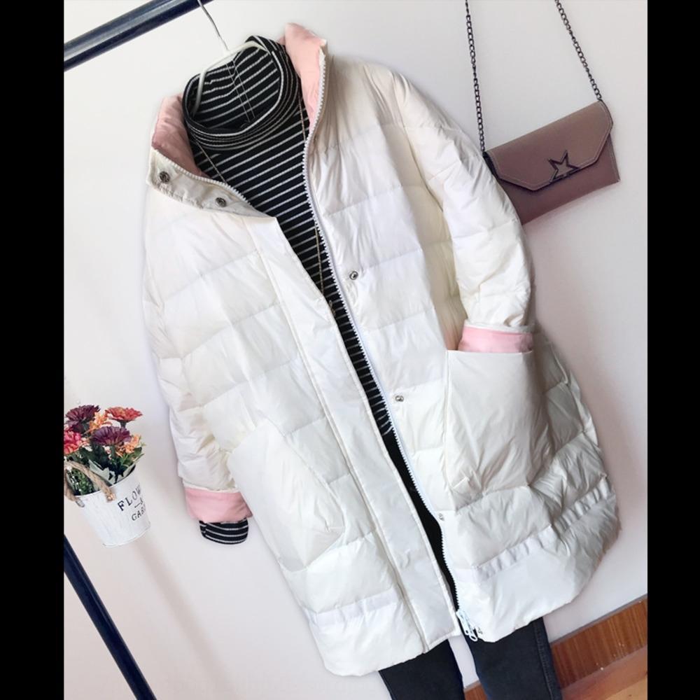 Işık pelerin ceket aşağı DFNho Women'sseason Cloak ceket aşağı ceket 2020 Stand orta uzunlukta yeni Koreli yaka beyaz ördek