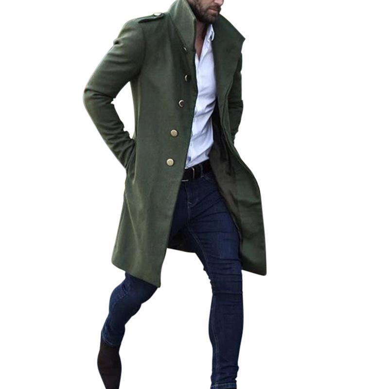Сплошной цвет Мужские плащи Тонкий Стенд Воротник Army Green Men Casual конструктора пальто весна осень осень однобортный мужской одежды