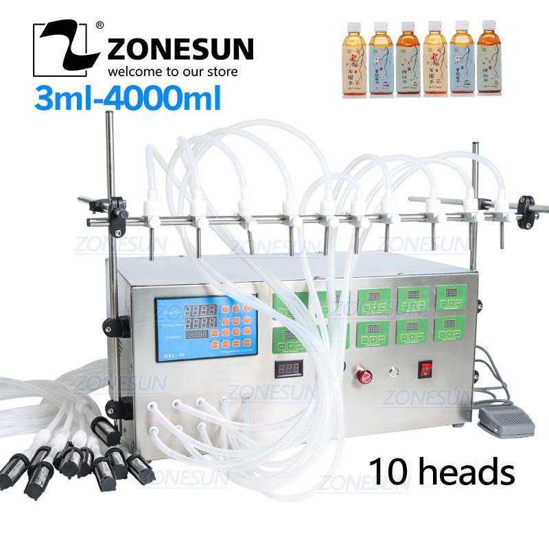 Líquido de control de la bomba eléctrica ZONESUN Digital Máquina de llenado 3-4000ml Para el líquido del perfume del jugo del agua del aceite esencial con 10 cabezas