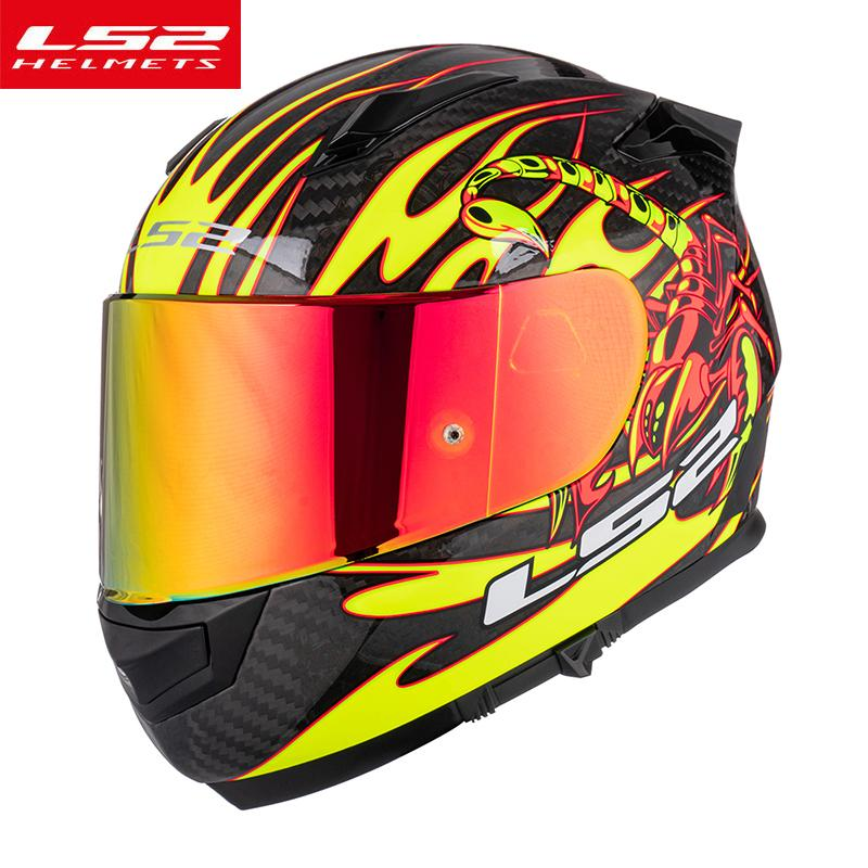 NEW LS2 FF801 Full Face Carbon Fiber Shell motorcycle helmets with Chrome Red Visor casco moto ls2 capacete ECE Certification