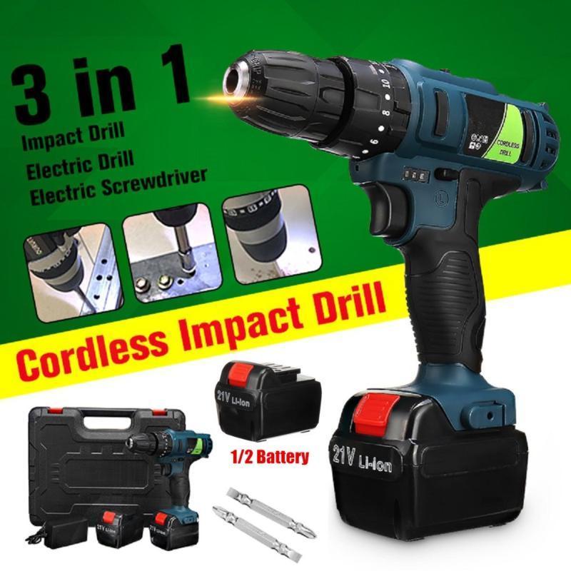 Ferramentas de Impacto Hammer Drill Broca elétrica 21V velocidade dobro bateria elétrica Cordless Screwdriver Início DIY Poder