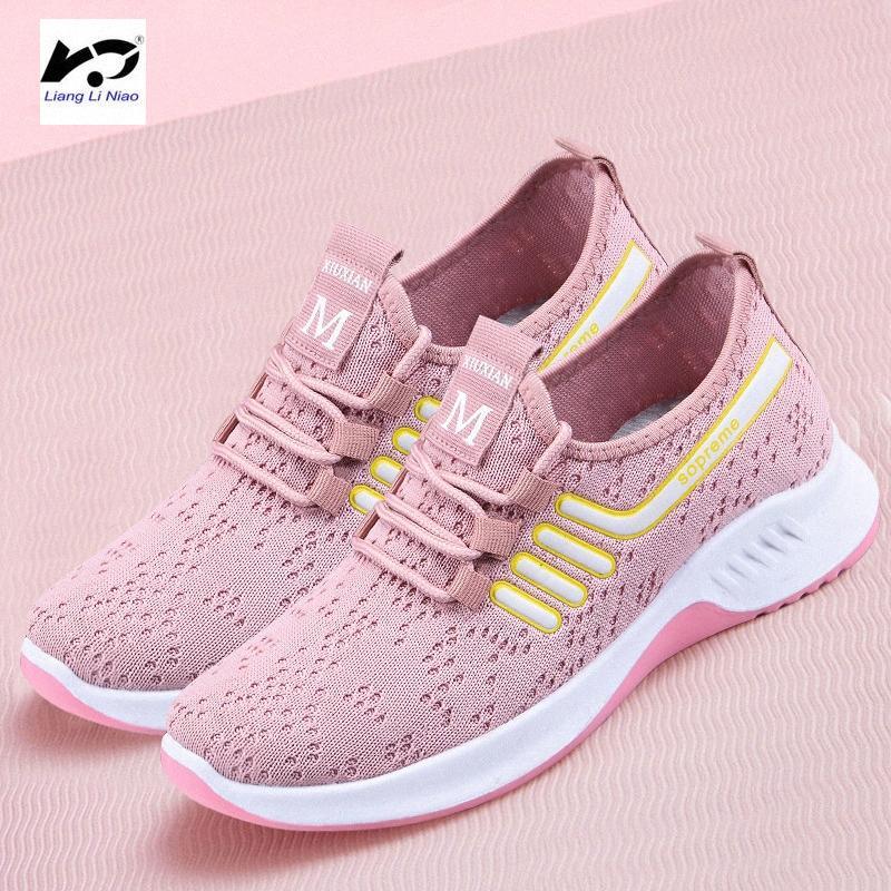 Verano 2020 para mujer zapatos planos ocasionales de moda atan para arriba los zapatos transpirables mujeres planas de las mujeres zapatillas de deporte uqpx #