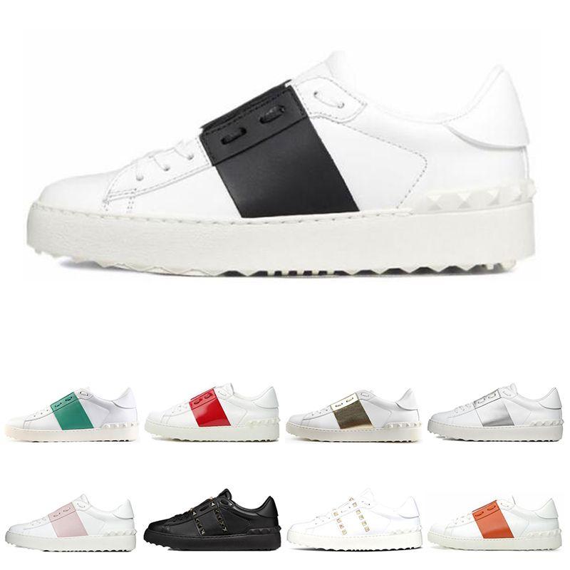 2019 Yeni arrivel Tasarımcı Ayakkabı Beyaz Moda Erkek Kadın Deri Casual Açık Düşük spor Sneakers Boyut 35-46 Ile kutu