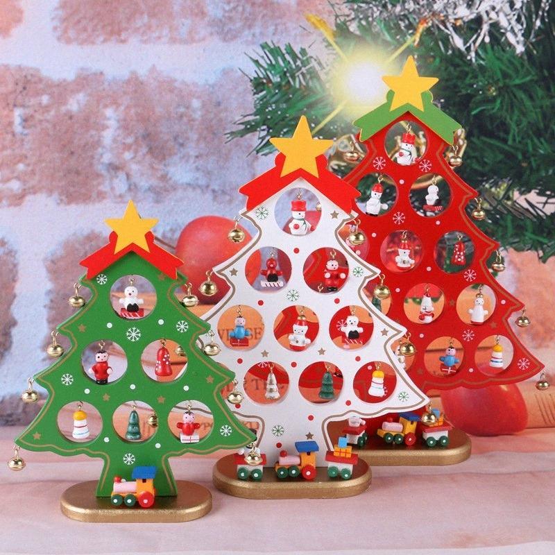 Navidad hecha a mano Decoración de bricolaje Forma colorido de Navidad Craft árbol de madera artículos de equipamiento del festival del partido de Casa de los ornamento 08FY #