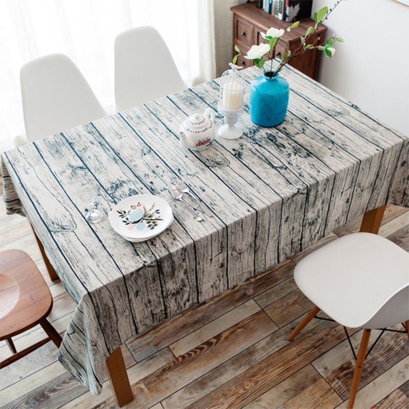 Holzmaserung dekorative Tischdecke Baumwolle Leinen-Party Tischdecke rechteckig Esstisch Abdeckung Küche Moderne Wohnkultur