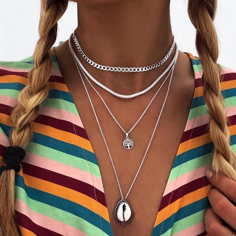 Kadınlar Kalın Zincirler Geometrik Kolye Takı Kolye YN1122 için Bohemian Çok Katmanlı Doğal Deniz Kabuğu Ağacı Kolye Kolye