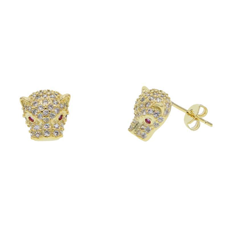 2020 HIPHOP rock glacÉ bling bijoux cubes femmes zircone micro pave animal frais de léopard cz boucle d'oreille clous Panther
