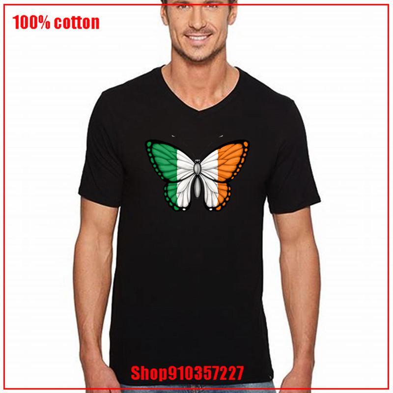 Müthiş Tees İrlanda Bayrağı Kelebek Komik T shirtleri% 100 Cotton streetwear Benzersiz Giyim Komik Tişörtler tişört V yaka soğutmak