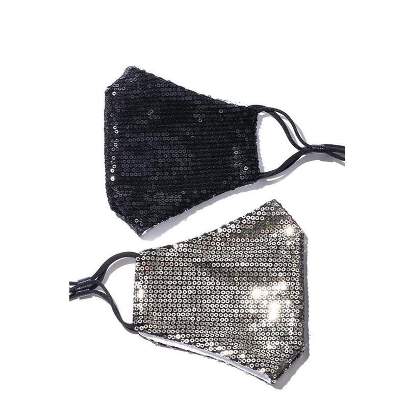 Art und Weise Bling Paillette für Gesicht Frauen Staubdichtes Schutzmasken Waschbar Wiederverwendbare elastische Earloop Mundmaske Schwarz Gold Rot Lqq29