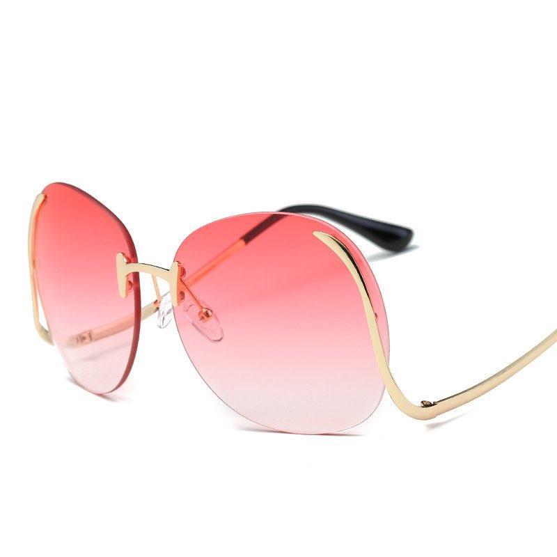 Venta al por mayor Océano Gafas de sol Sombra Gafas Coloridas Gafas de sol sin marco Metal Bent-Pierna de gran tamaño Moda redonda Moda 10 colores Mujeres EPGBL