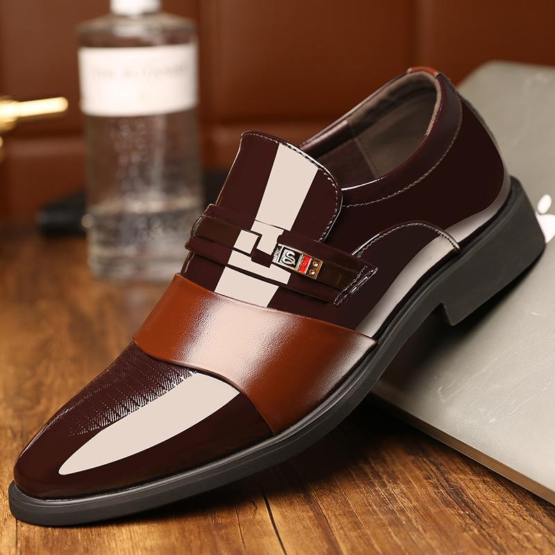 Inverno com um pano macio Napmen Dress Shoes brilhantes pés quentes Couro Homens vestido sapatos de couro Classicsman 08