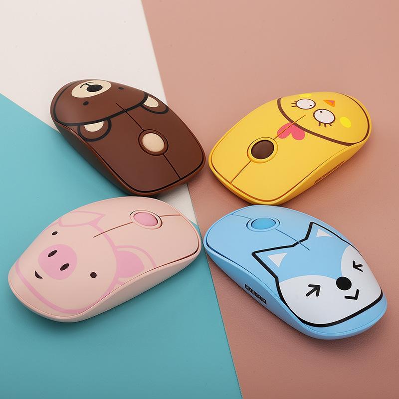 2.4g Mouse del computer wireless Super Carino Cartoon carino Girls ABS Clicks Musei muti ergonomici con mouse tappetino da gioco a basso potere