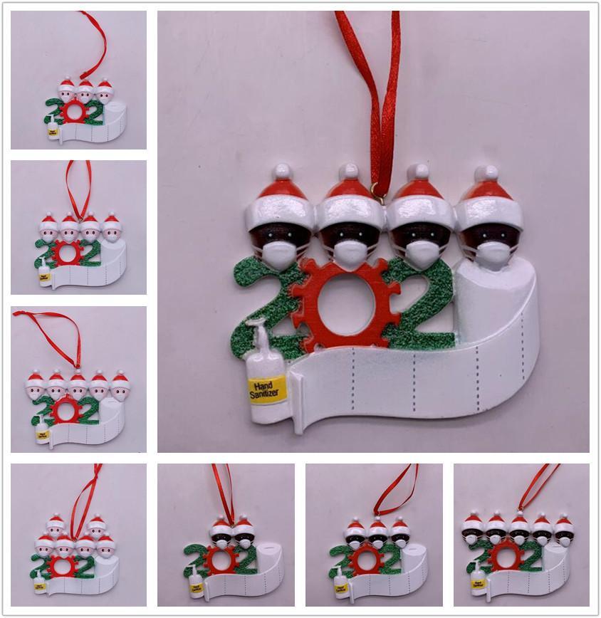 Fedex 2020 Карантин Рождественский орнамент Черный Белый семьи Украшение DIY Имя Смола Рождество декоры Pandemic социальное дистанцирование