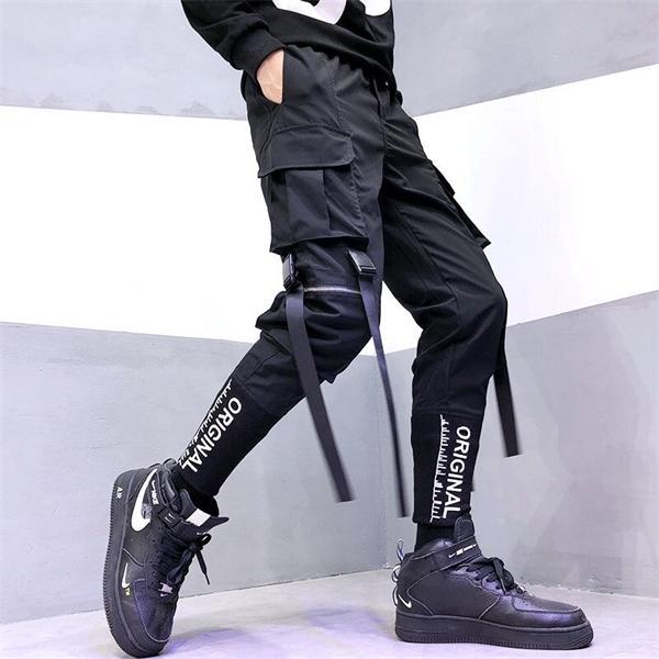 Männer Art und Weise Hip-Hop-Hosen Street Band Männer Overalls Freizeit Taschen-Hosen-elastische Taillen-Hosen Jogginghose Street