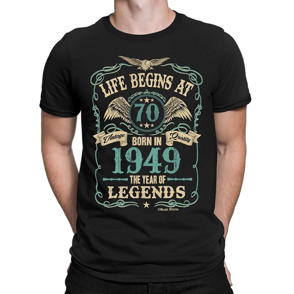 Hayat Efsaneleri 70. doğum HEDİYENİZİ 1949 Yıl Born In 70 Erkek T-Shirt Başlıyor 2020 Yeni Erkek Giyim Yüksek Kaliteli T Gömlek