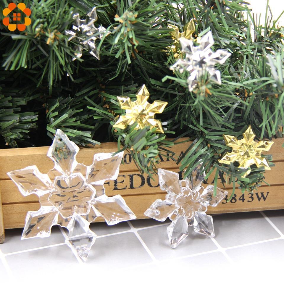 DIY Şeffaf / Altın / Gümüş Akrilik Kar Tanesi Noel El Sanatları Kolye Süsler Noel ağacı Hangings Çocuk Hediye Süsleri