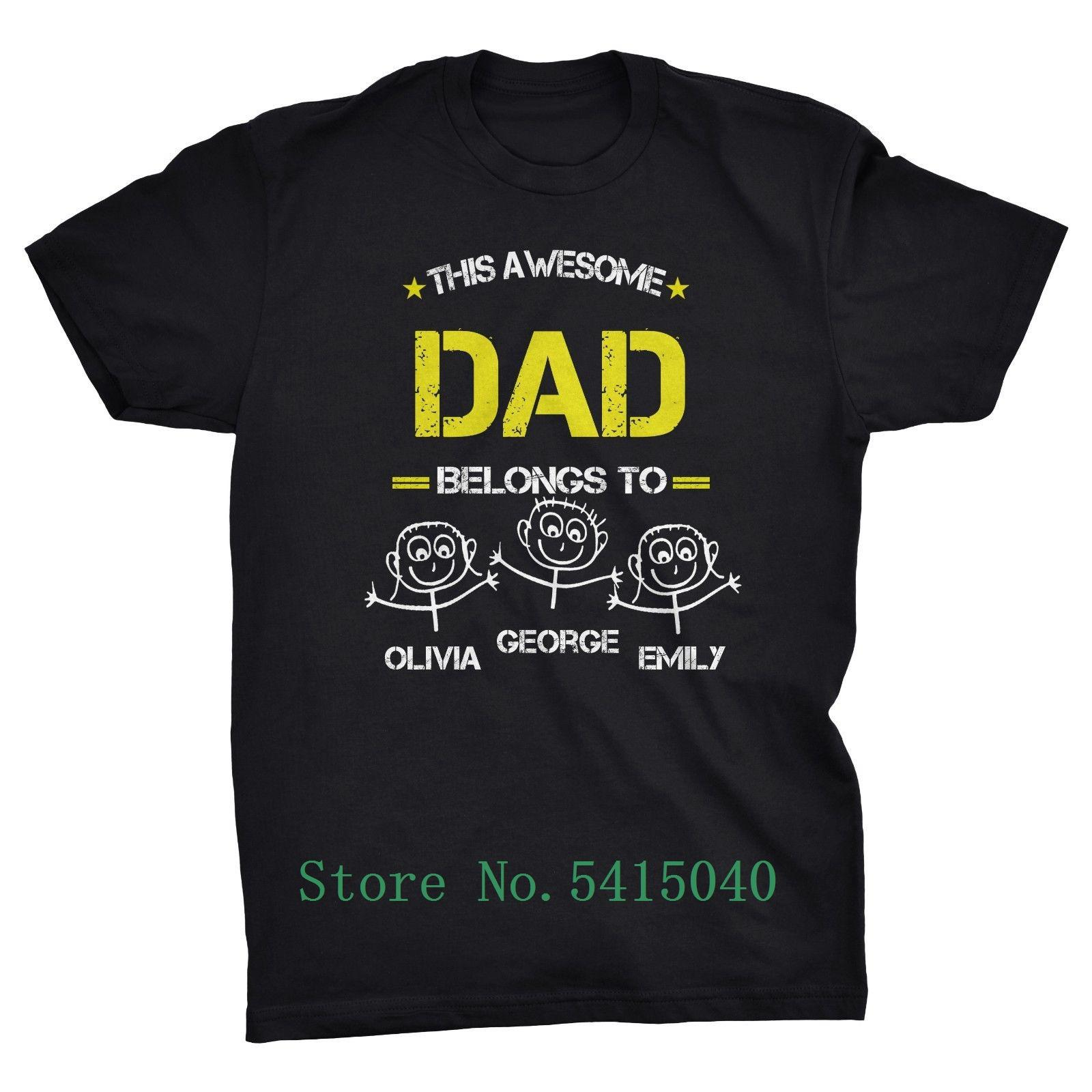 Этот удивительный папа Принадлежит ... Персонализированные Отцов день Симпатичные футболки Up To Прохладный Повседневная Pride T Shirt Men Unisex New