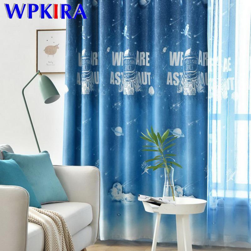 Cartoon Padrão Azul Blackout Curtain O espaço Astronauta Janela Cortinas para o bebé Quarto Sala Tulle cortinas M218D3