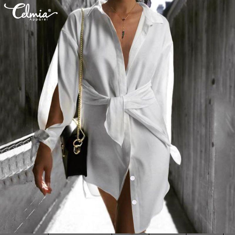 Celmia Femmes Blanc Robe asymétrique Mode Boutons à manches longues de Split Party Shirt Vestidos Belted Casual Sexy Mini Sundress