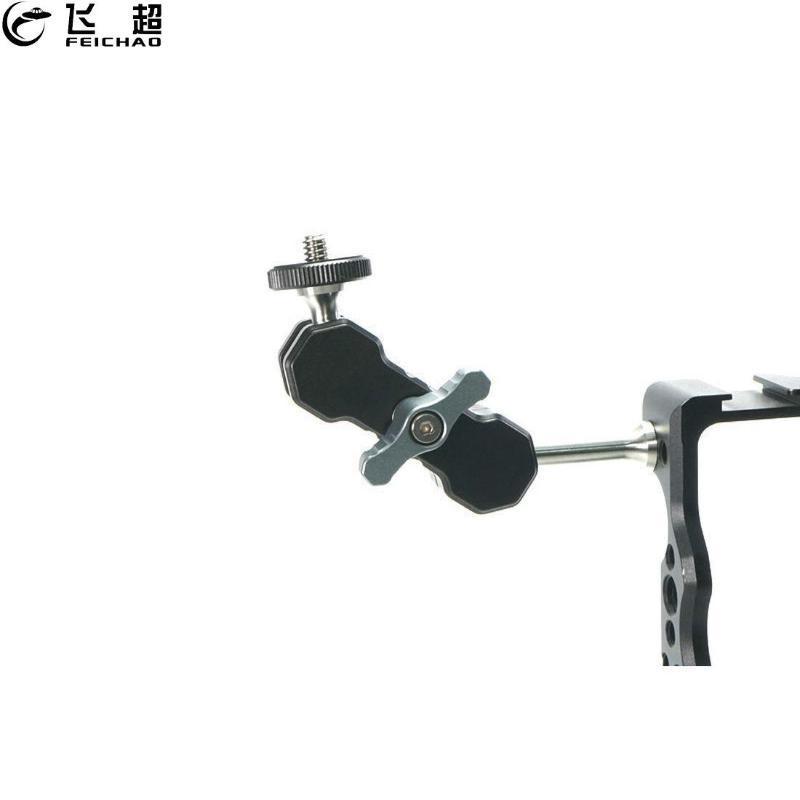 DSLR 카메라 모니터 LED 라이트 플래시 모니터 비디오 케이지 조작을위한 새로운 매직 팔 1/4 인치 나사 듀얼 볼 헤드 어댑터 마운트 홀더