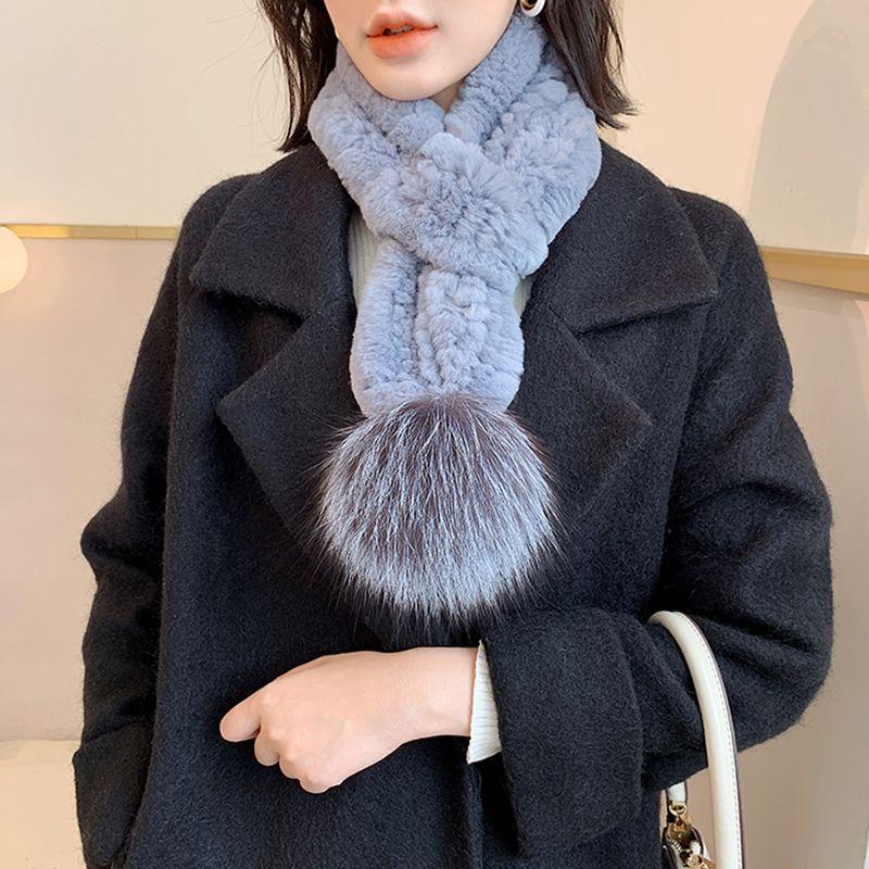 Шарфы весенние зима прибытие женщин настоящий REX мех длинный шарф мода Помпом глушитель S7730