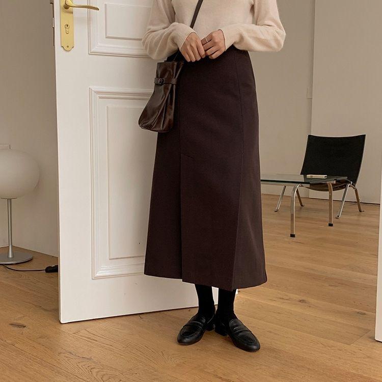 REmzf зимой Корейские долго образный стиль юбки A- женщины высокая талии разделить 1895 юбки на долгую середине длину