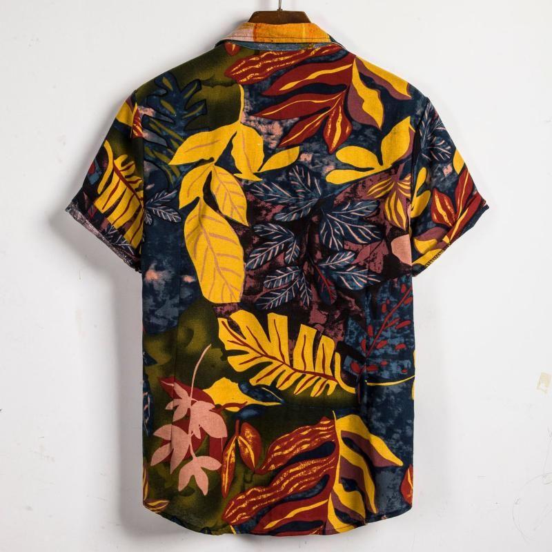 Heißer Verkaufs-Hemd der Männer neue stilvolle masculina Hawaiihemd Mens Vintage-Ethnic Printed dreht unten Kragen Kurzarm loses Hemd