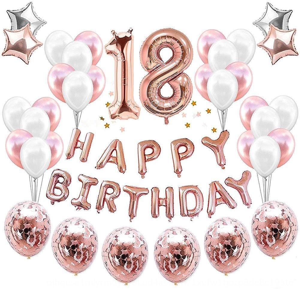 ORgep alluminio pellicola partito g 1.16.18.19 anni Felice rosa impostato Felice Partito oro rosa 1.16.18.19 anni pellicola di alluminio lattice balloonballoon lat