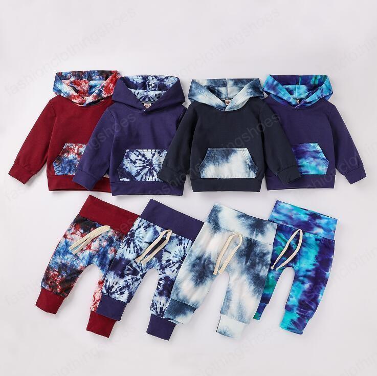 مصممون ملابس الاطفال التعادل صبغ الملابس مجموعات الفتيان مقنعين معطف سترة السراويل اثنين من قطعة مجموعة هوديي بأكمام طويلة خليط ثوب الشتاء