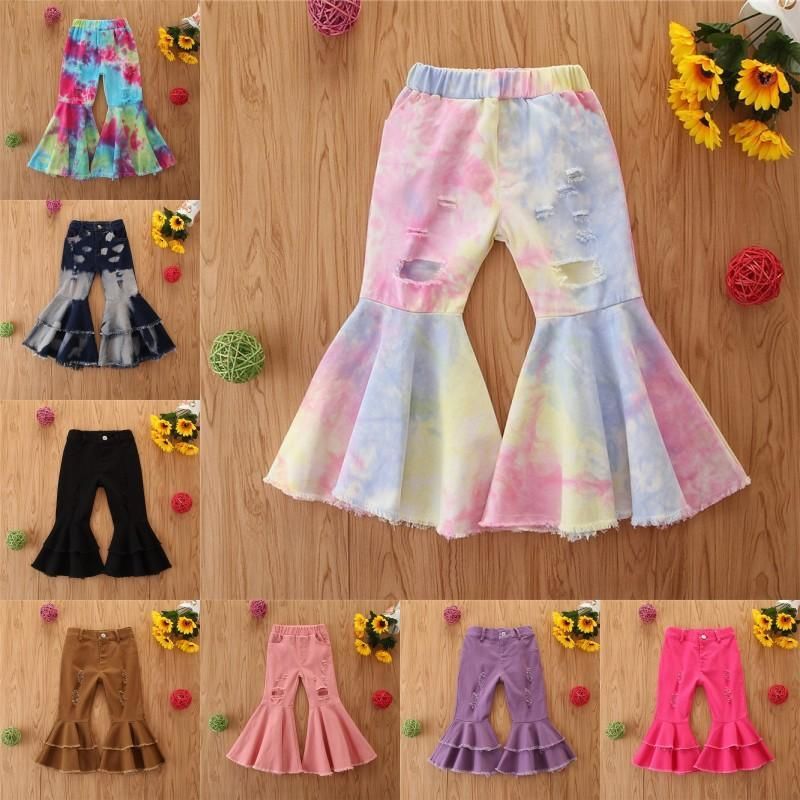 Stylish New INS Kids Boot Pant Kids Little Girl Denim Flare Pants 1-6Y Girls Autumn Ripped Jeans Fashion Girl Flare Pants Children Trousers