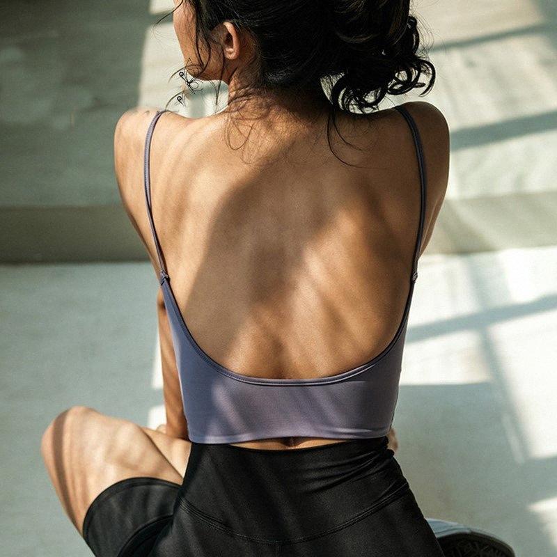 Fitness спортивной одежды йога жилет женщина рубашка спорт Sexy топ обучение белого бюстгальтер Backless толкать вверх верхний урожай бретели GyHQ #