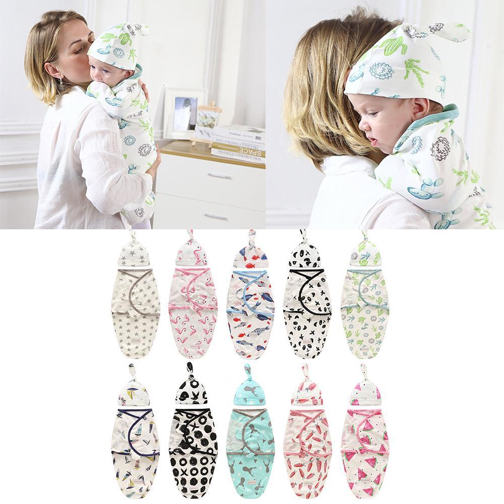 Swaddle Blanket + Cap Newborn Cocoon Wrap Cotton Swaddling Bag Baby Envelope Sleep Sack Bedding
