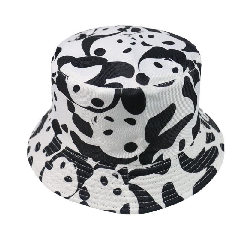 4pcs/lot Panda Pattern Bucket Hat Anti UV Sun Hats Fashionable Cute Cat Fishing Caps Worn in Both Sides for Travel Camping