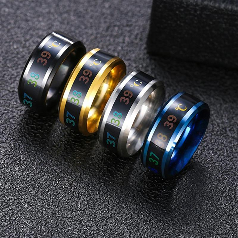 Anelli di monitoraggio della temperatura, termometro digitale sensore di temperatura corporeo anelli intelligenti anelli di cerimonia nuziale anelli di matrimonio anelli, misura adatta in acciaio in titanio