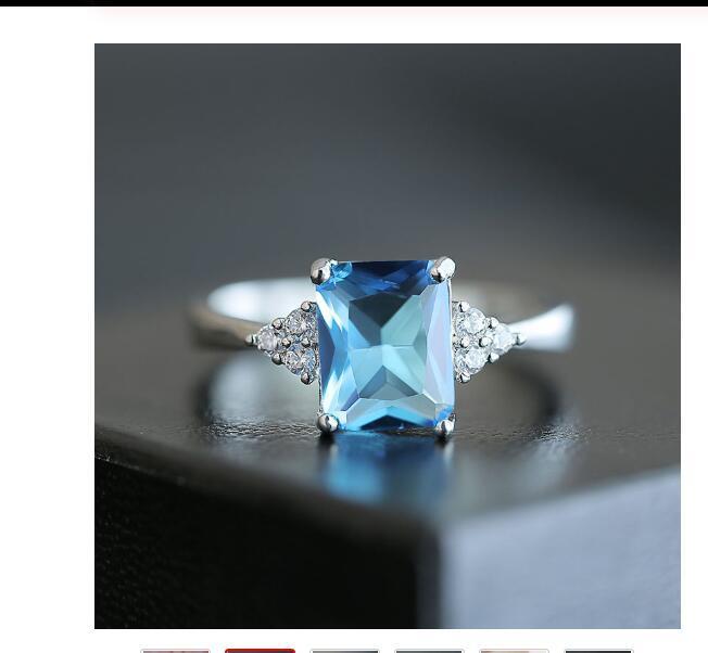 Lüks Klasik Dikdörtgen Mavi CZ Alyans nişan yüzüğü için Kadınlar 3 Renkler Boyut 6-10 Fabrika Satış