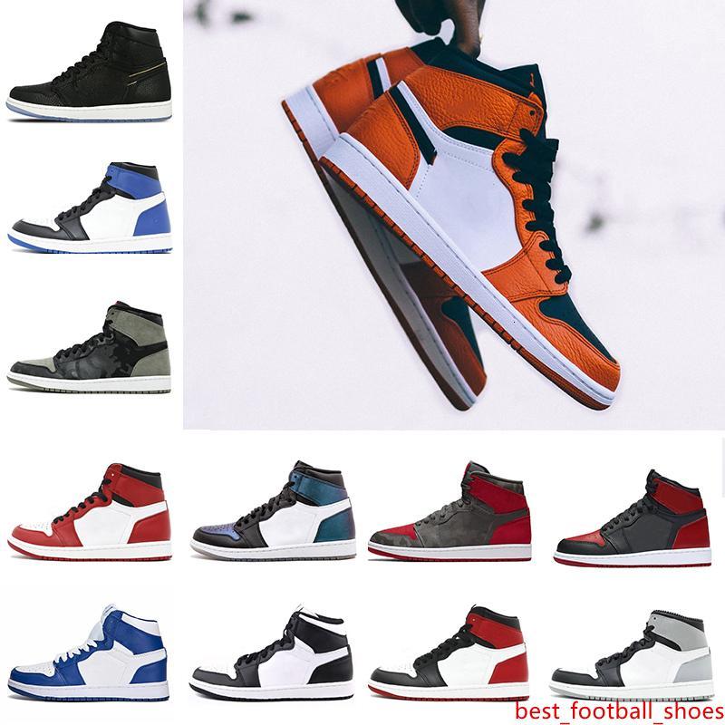 Barato 1 Top 3 prohibidos dedo del pie Bred Chicago OG 1s juego azul real para hombre de los zapatos de baloncesto zapatillas de deporte Shattered formadores de diseño del tablero trasero Hombres Deportes