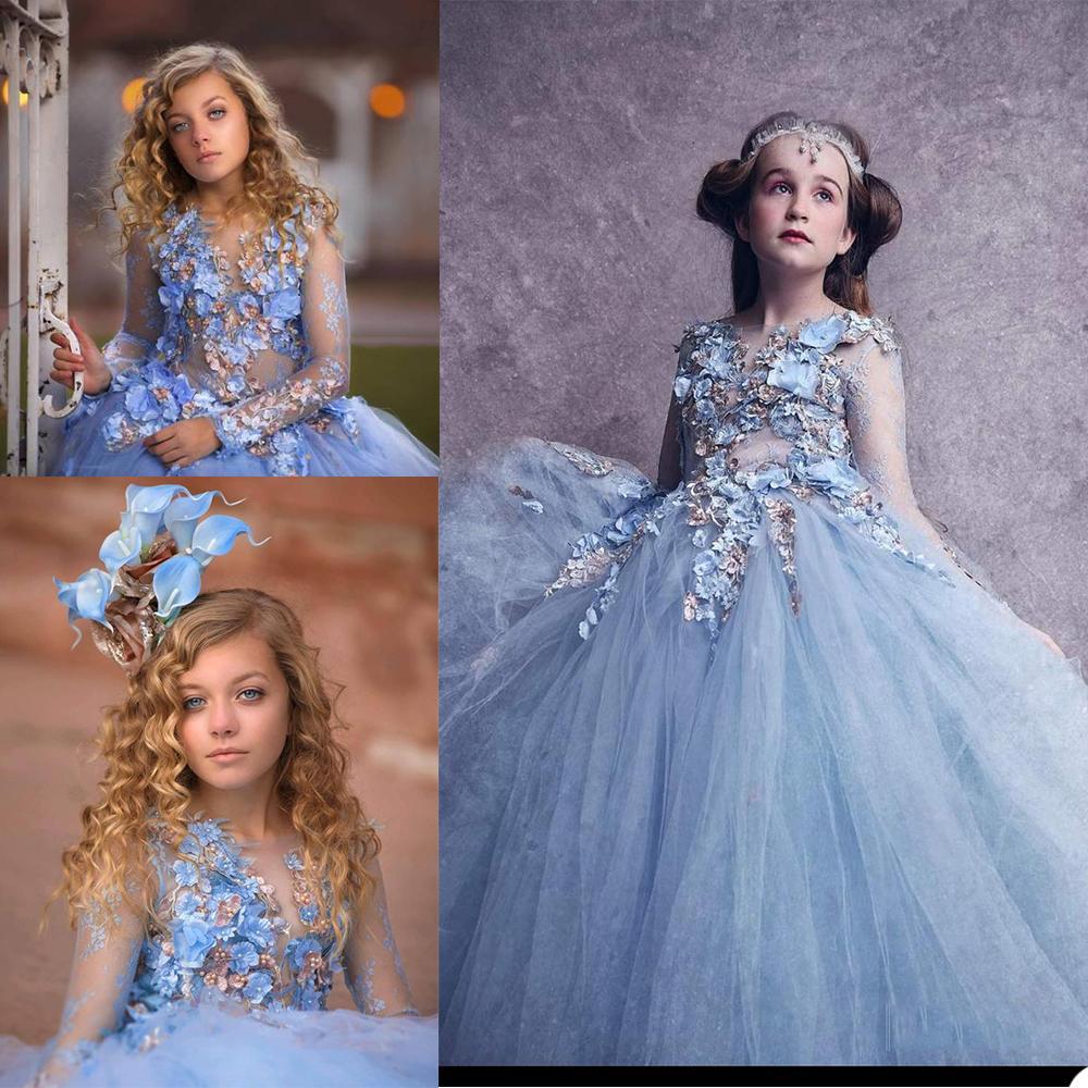 Abiti 2020 Lace Appliques maniche lunghe bambini Abiti formali Vintage principessa delle ragazze di fiore su ordine Fata Prima Comunione Abiti