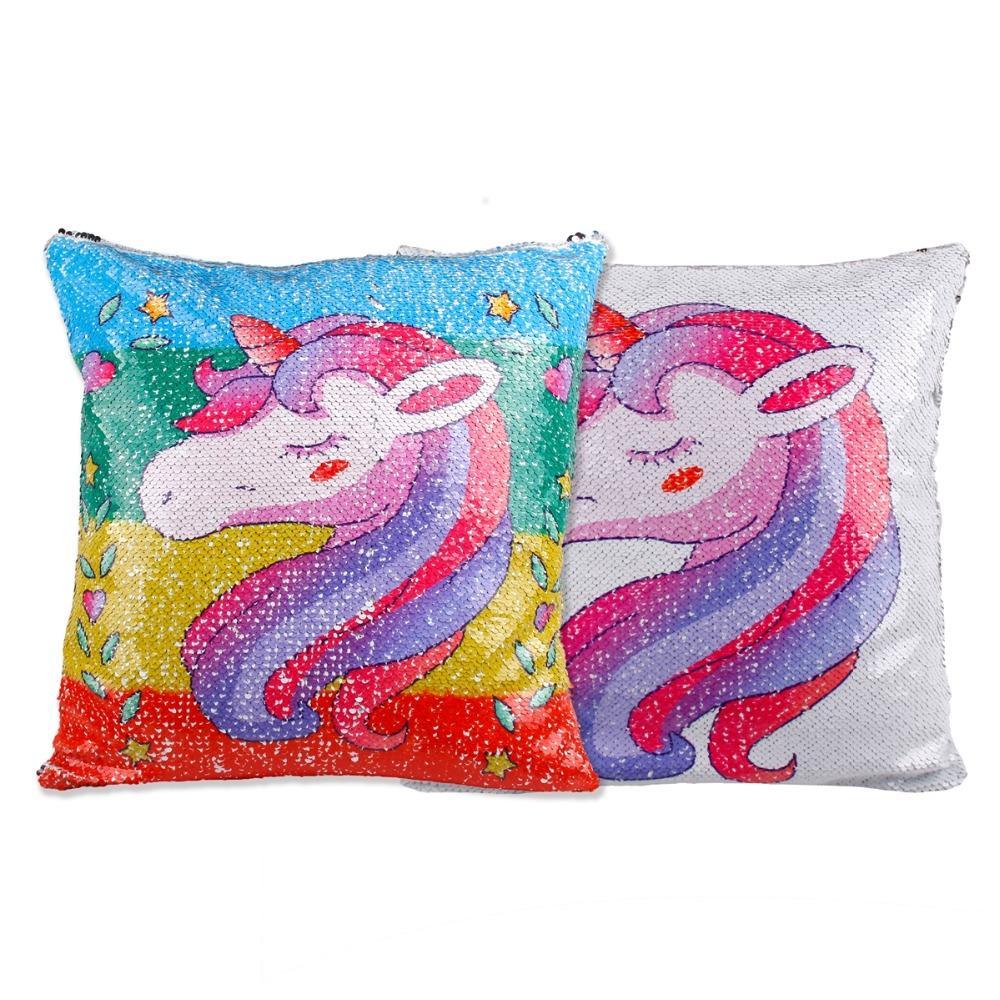 Unicorn Yastık Kılıfı Pullarda Unicorn Yastık Kapak Dekoratif Yastık Döner Pullarda Yastık kılıfı kapağı Koltuk Ev Dekorasyonu
