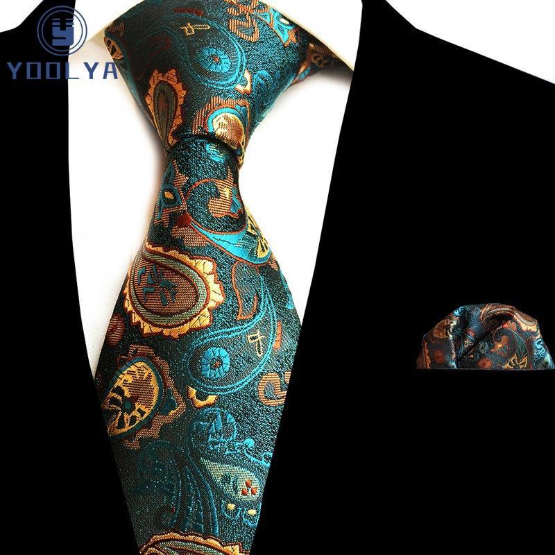 Hot 8cm Silk Männer Tie Paisley Blumenkrawatten Handkerchief Set Luxus Krawatten Männer Partei-Hochzeit Einstecktuch Tie Sets
