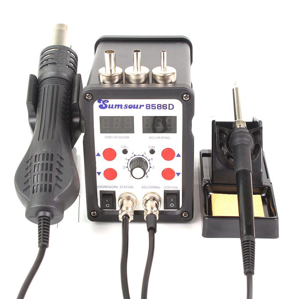 Pantalla Estación de soldadura ESD 8586D Doble Digital Electric Repair hierro de la soldadura de aire caliente pistola Het SMD BGA del soldador desoldadura