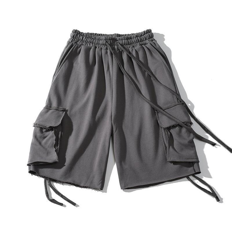 EWQ / dos homens desgaste do vintage High Street calções de ferramentas do sexo masculino 2020 ins moda calça casual na altura do joelho perder fundos 9Y3146