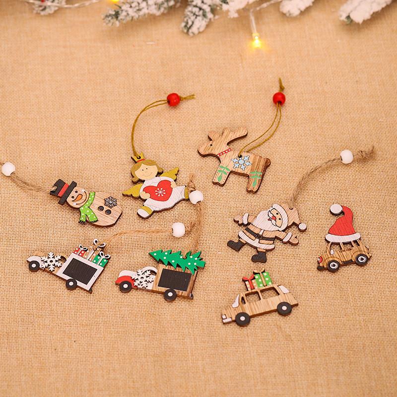 Рождественские украшения кулон Санта-Клаус сочетание кулон деревянный автомобиль Xmas дерево деревянный Мультфильм кулон T9I00551