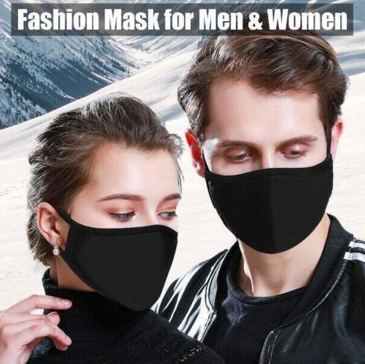 Mode Masques de protection coton visage noir anti-poussière tissu lavable visage Masques bouche de mascheri Blanc respiration Sécurité en stock FY9043 Masque